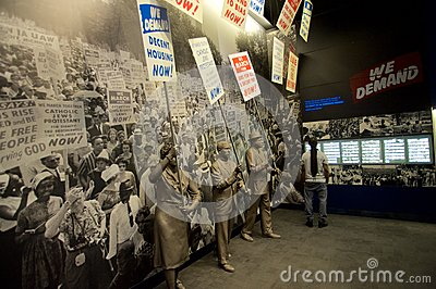 Statues of African Americans marching inside the National Civil Rights Museum at the Lorraine Motel