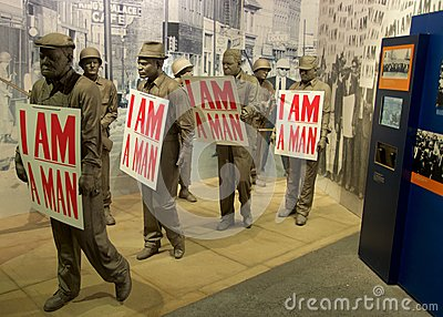 I Am A Man Statue Exhibit inside the National Civil Rights Museum at the Lorraine Motel