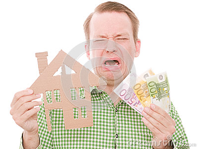 Crying houseowner with money