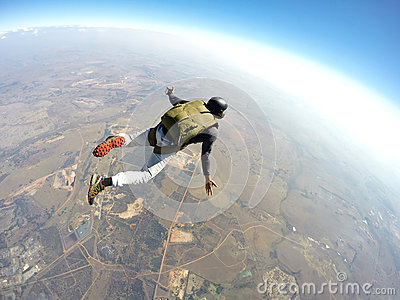 Skydiver in action