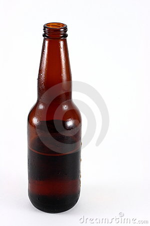 Brown Glass Beer Bottle Half Empty