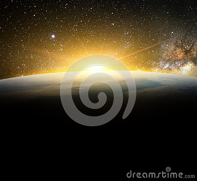 Earth and sunlight in galaxy element finished by nasa