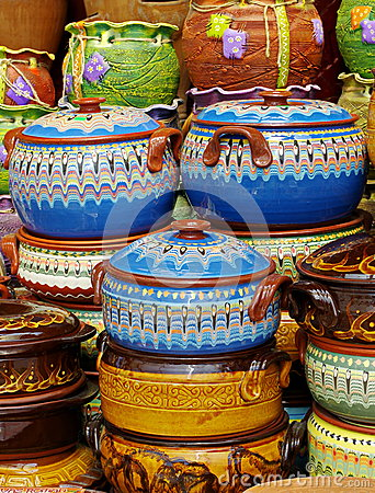 Ceramic from Bulgaria. Traditional bulgarian colored pottery