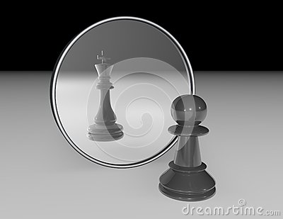 Ambition and dream abstract concept with chess pawn and reflexion of chess king in a mirror.