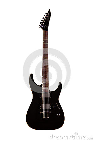 Black electric guitar isolated on white background