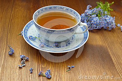 Forget me nots  with old china tea cup