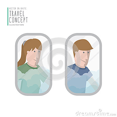 A man and a woman looking out the airplane window flat vector.
