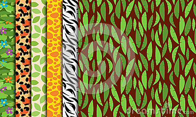 Seamless, Tileable Jungle or Zoo Animal Themed Backgrounds