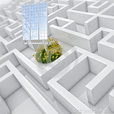 White labyrinth, problem solved, solar panel with grass and flowers in abstract maze