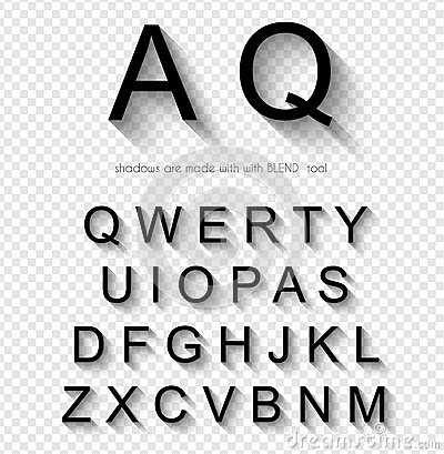 Classi Style Font with soft Shadow. Isolated Letters