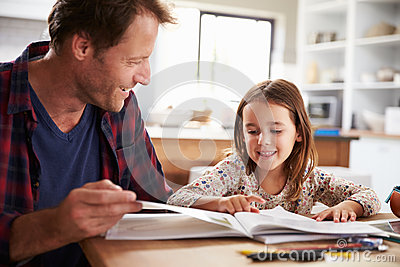 Father home schooling his young daughter
