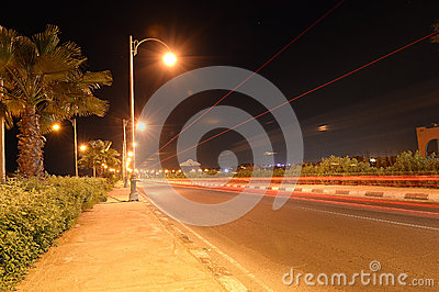 Roadway at night