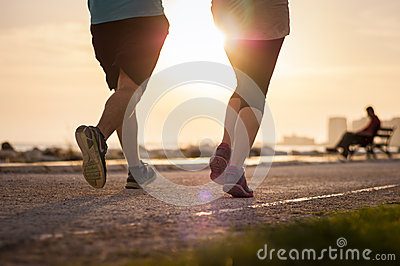 Two people running.