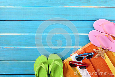 Summer vaction beach background, flip flops, sunglasses, copy space