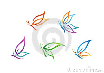 butterfly, logo, beauty, spa, lifestyle, care, relax, yoga, abstract, wings, set of symbol icon design vector