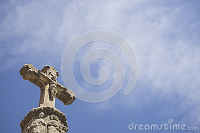 Stone rood with blue sky