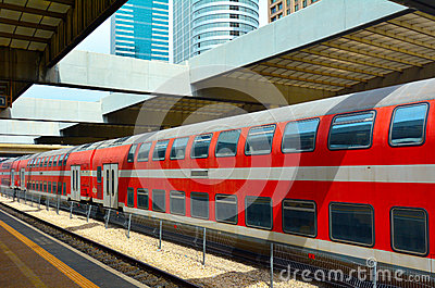 stock image of double-deck train in tel aiv, israel.