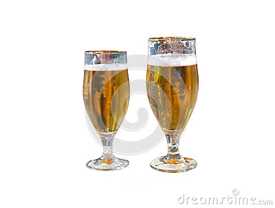 Two beers isolated