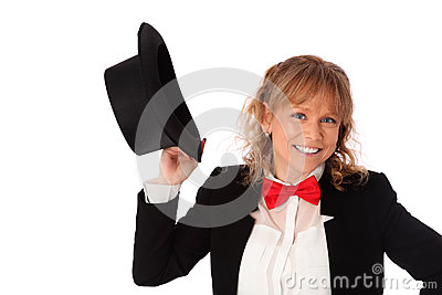 Amazing woman in black jacket, bowtie and a top hat