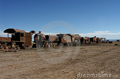 Old rusting train carriages