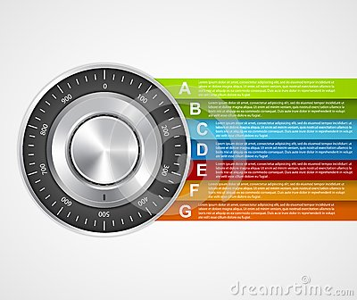 Protection information. Combination safe lock design concept infographics.