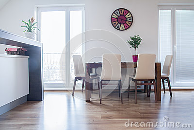 Kitchen table in the modern appartment