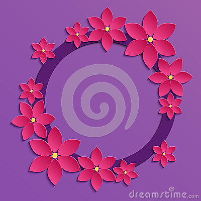 Decorative violet papercut border with pink paper flowers 3d pa mightylinksfo