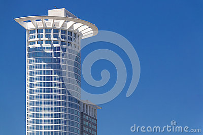 High-rise building on blue sky- Frankfurt am Main Germany- Westend Tower