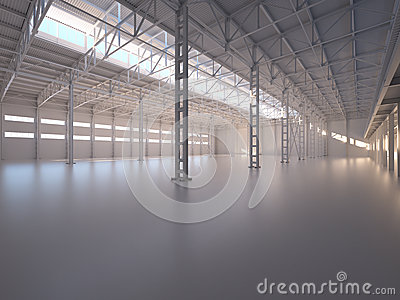 Abstract Empty Warehouse Interior