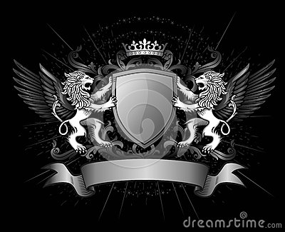 Lions and shield on crest