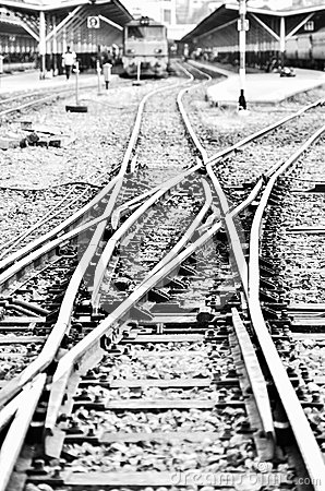 Railway in black and white
