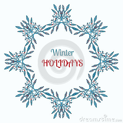 Winter holidays wreath and ornament decoration. Merry Christmas wish greeting card design and vintage frame background