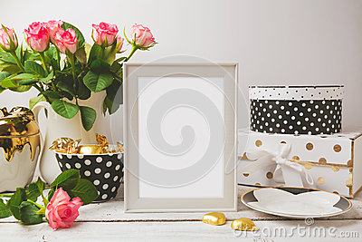 Picture frame poster template mock up with glamour and elegant feminine objects