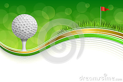 Background abstract golf sport green grass red flag white ball frame gold illustration