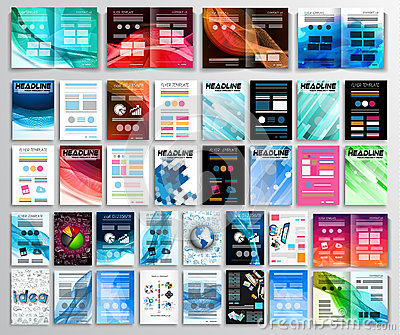 Set of Flyers, background, infographics, brochures, business cards