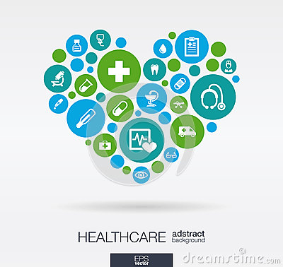 Color circles with flat icons in a heart shape: medicine, medical, health, cross, healthcare concepts. Abstract background