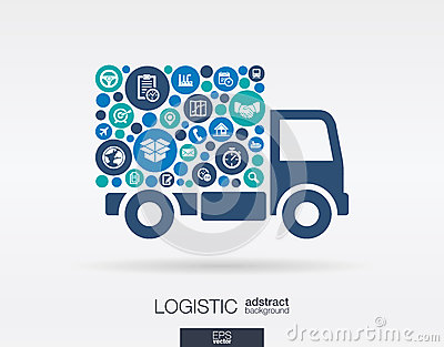 Color circles, flat icons in a truck shape: distribution, delivery, service, shipping, logistic, transport, market concepts.