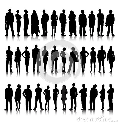 Standing Silhouette Of Crowd Of Business People