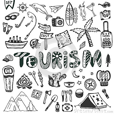 Hand drawn big set. Summer holiday - camping and sea vacation. Travel icons vector collection. Doodle tourism lettering