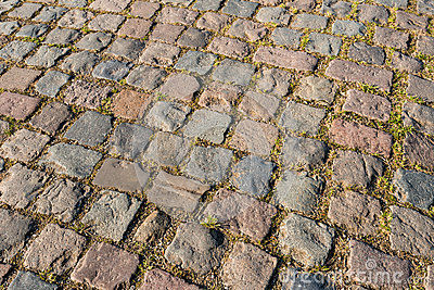 Part of an old cobblestone road