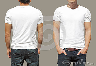 White tshirt on a young man template