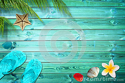 Summer background, palm trees, flip flops and sea shells