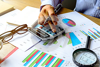 Desk office business financial accounting calculate, Graph analy