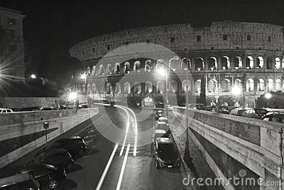 Coliseum Black and White Rome Italy Touristic Place Building