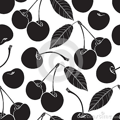 Seamless pattern with cherry. Black and white background.