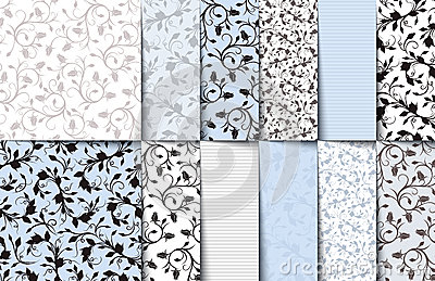 Set of blue, white and gray seamless floral patterns. Vector illustration.