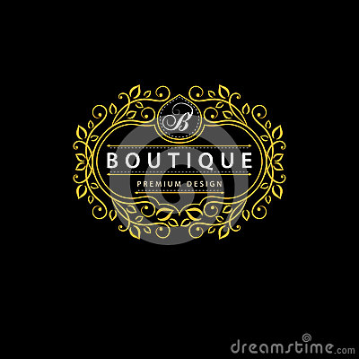 Monogram design elements, graceful template. Elegant line art logo design. Business sign, identity for Restaurant, Royalty