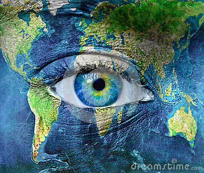 Planet earth and blue hman eye