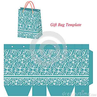 blue gift bag template with seamless pattern
