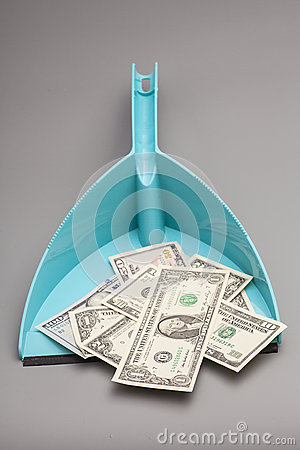 Blue scoop and dollars